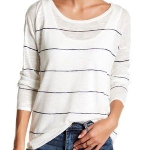 Lucky Brand Linen Blend Long Sleeve Top